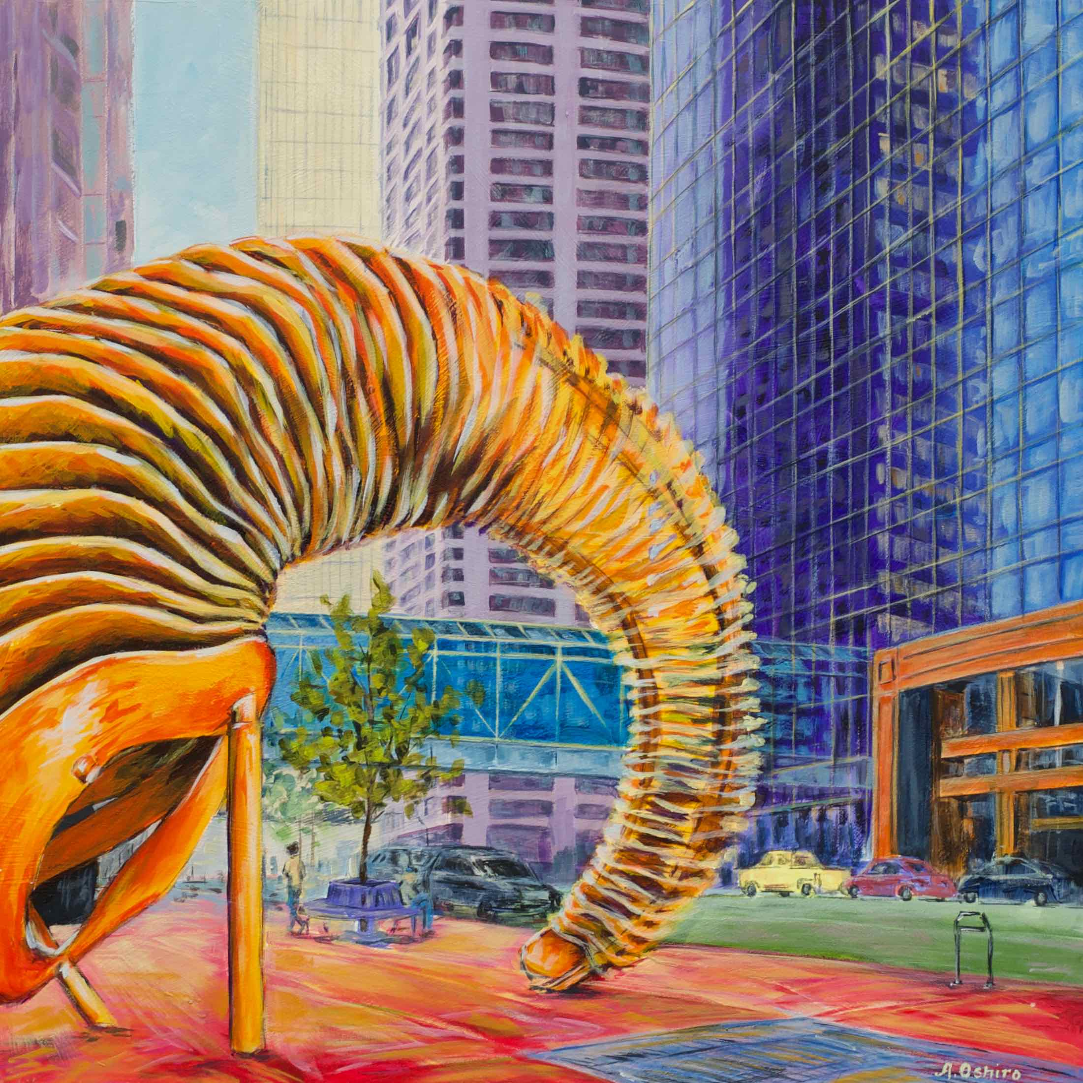 """- No. 8 – '4th Ave. and 1st St. SW'20x20"""" Acrylic on Cradled Birch Panel""""Weaving Fence and Horn"""" by Ontario artist John McEwan is made entirely of recycled steel and was installed June 2002 in front of TransCanada Tower. This piece was inspired by a rocky mountain sheep's horn. In this painting, TransCanada Tower and Fifth Avenue Place are joined by Calgary's Plus 15 system, pedestrian bridges built approximately 15 feet above street level."""