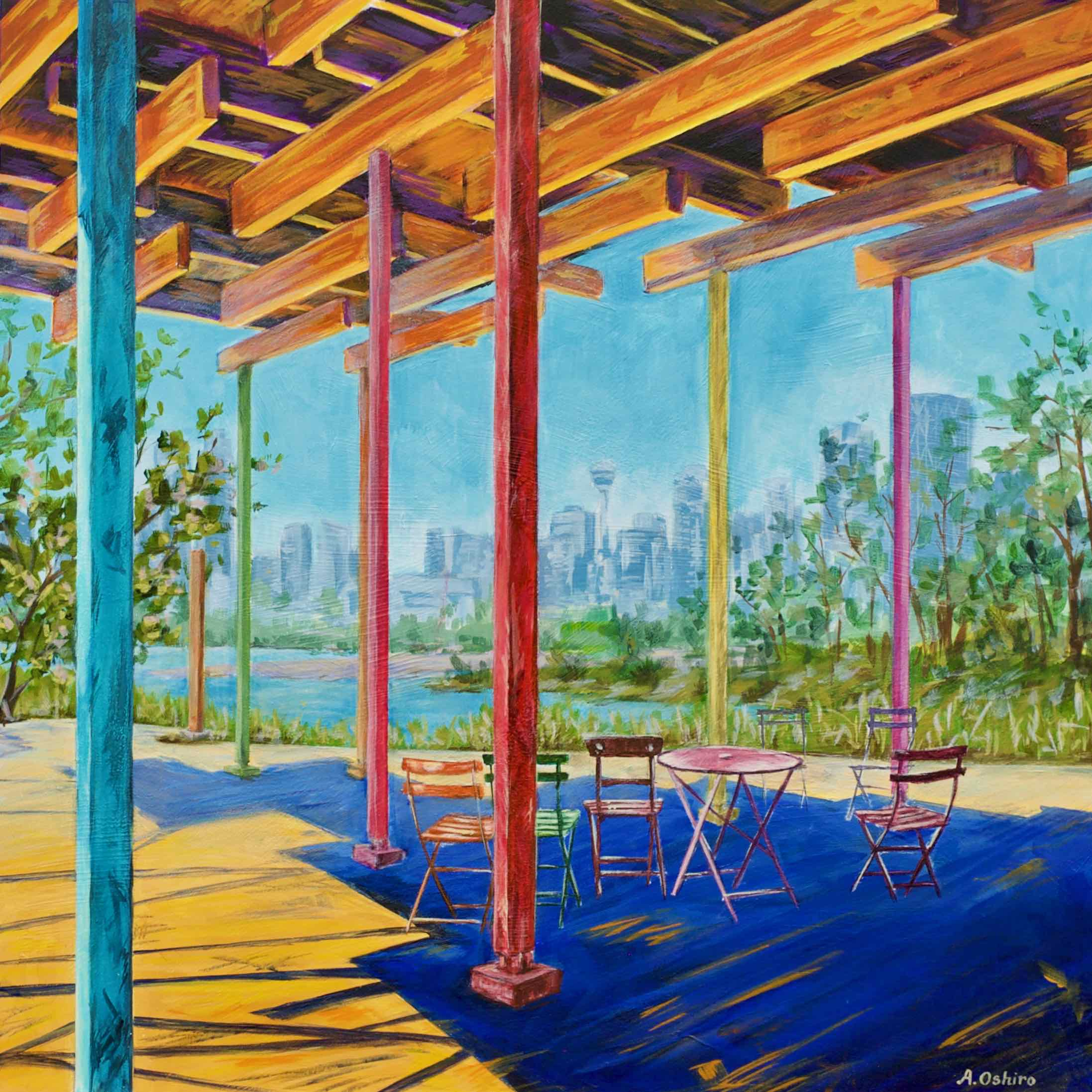 """- No. 9 – '12th St. and Zoo Rd. NE'20x20"""" Acrylic on Cradled Birch PanelSt. Patrick's Island is one of Calgary's oldest public parks. Development of this greenspace began in the 1890's. It recently underwent extensive redevelopment and re-opened to the public in 2015. St. Patrick's Island is a great place to picnic with the family and children are able to enjoy """"The Playmound's"""" playground. This is the view from """"Confluence Plaza"""" which overlooks the Bow River and downtown Calgary."""