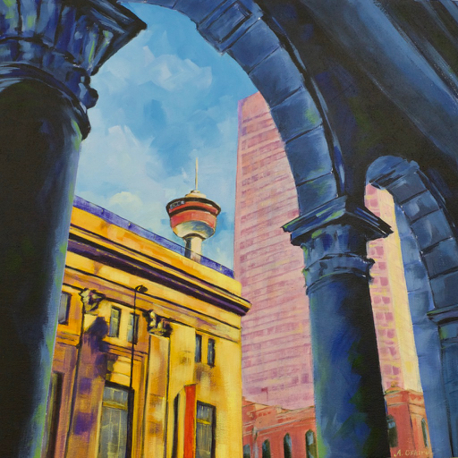 """- No. 11 – '8th Ave. and 1st St. SW – The Bay'20x20"""" Acrylic on Cradled Birch PanelThe Hudson's Bay Company Department Store (1913) is known for its wraparound arcade with granite columns and rounded arches. HBC was founded in London in 1670 and began as a fur trading business. Today, Hudson's Bay is a chain of 90 department stores in Canada and the Netherlands. This 6 story building in Calgary was HBC's first ever downtown department store."""