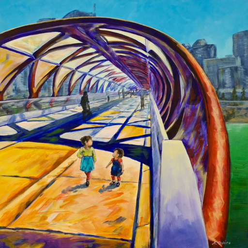 """- No. 12 – 'Peace Bridge'20x20"""" Acrylic on Cradled Birch PanelThe Peace Bridge (2012) is a pedestrian bridge crossing the Bow River in Calgary. It was designed and manufactured in Spain and shipped to Calgary. It is uniquely helical in shape and was designed to have no piers in the water in order to minimize its ecological footprint. This piece features Oshiro's two young daughters (3 and 5 years old)."""