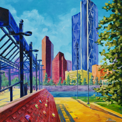 """- No. 13 – '228 – 8th Ave. SE'20x20"""" Acrylic on Cradled Birch PanelThe Olympic Plaza was built for the 1988 Winter Olympics medal presentation ceremonies and features a reflecting pond in the summer and skating rink in the winter. In May 2017, Carson McCulloch Associates installed """"I am not a Gopher"""" – an art installation which features 95 Richardson's Ground Squirrels. Olympic Plaza is the central location to many City of Calgary annual festivities."""