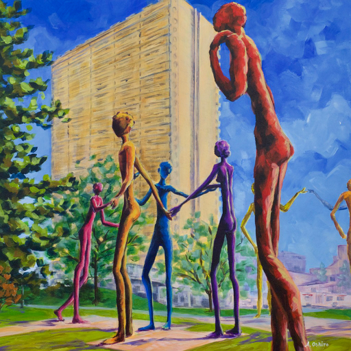 """- No. 14 – '515 - 557 1st Street SE'20x20"""" Acrylic on Cradled Birch Panel""""Brotherhood of Mankind"""" (aka. """"Family of Man"""") was created by Spanish artist Mario Armengol (1909-1995) and consists of ten 6.5m tall aluminum figures. It was first displayed in 1967 at the Montreal Expo and then purchased by a Calgarian who donated it to The City of Calgary. It was installed outside of the former Calgary Board of Education (CBE) building in 1968 and its image is still part of the CBE's logo."""