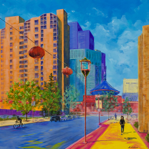 """- No. 15 – '116 – 2nd Ave. SW'20x20"""" Acrylic on Cradled Birch PanelWelcome to Calgary's Chinatown! The Chinese Cultural Centre (1992) was modelled after the 'Hall of Prayers' in Beijing's famed 'Temple of Heaven'. The 21m high ceiling is decorated with gold dragons and phoenixes. The artist's late grandfather lived in Wai Kwan Manor, the tall senior citizens apartment building on the left. The artist spent 8 years taking Chinese school in both the building on the right and the Chinese Cultural Centre."""