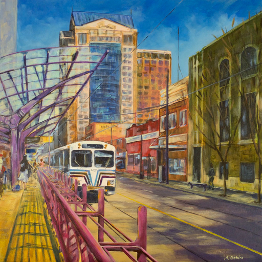 """- No. 17 - '7th Ave. and 1st St. SW'20x20"""" Acrylic on Cradled Birch PanelThe First Street SW Station is the platform that the artist used daily when commuting to work. Across the street is the historic Delamere Block (1912) – a two story brick building which is now owned by Heritage Property Corporation, a company which is planning to one day rehabilitate this property. The Siemens-Duewag U2 was the original model of car used when the CTrain system began operation in 1981. In the background is the Hyatt Regency Calgary hotel."""