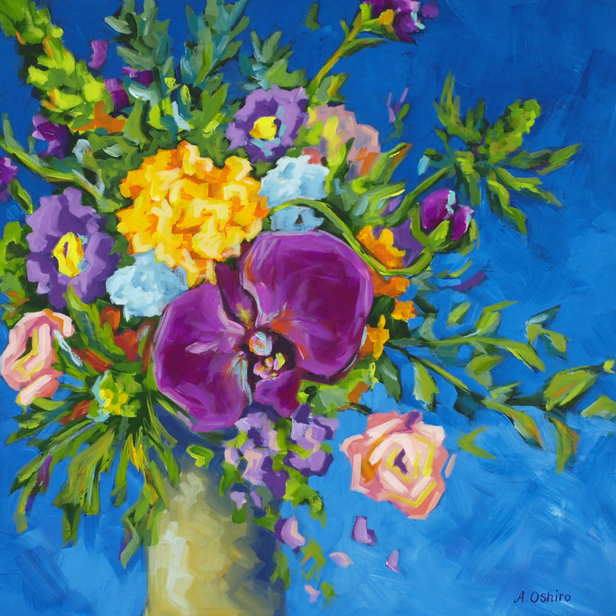 'Royal Acrylic Painting of Colourful floral arrangement in vase.  Fuchsia orchid in center.  Dark blue background by Ashley Oshiro, Calgary, Alberta, Local Fine Artist, Original Art