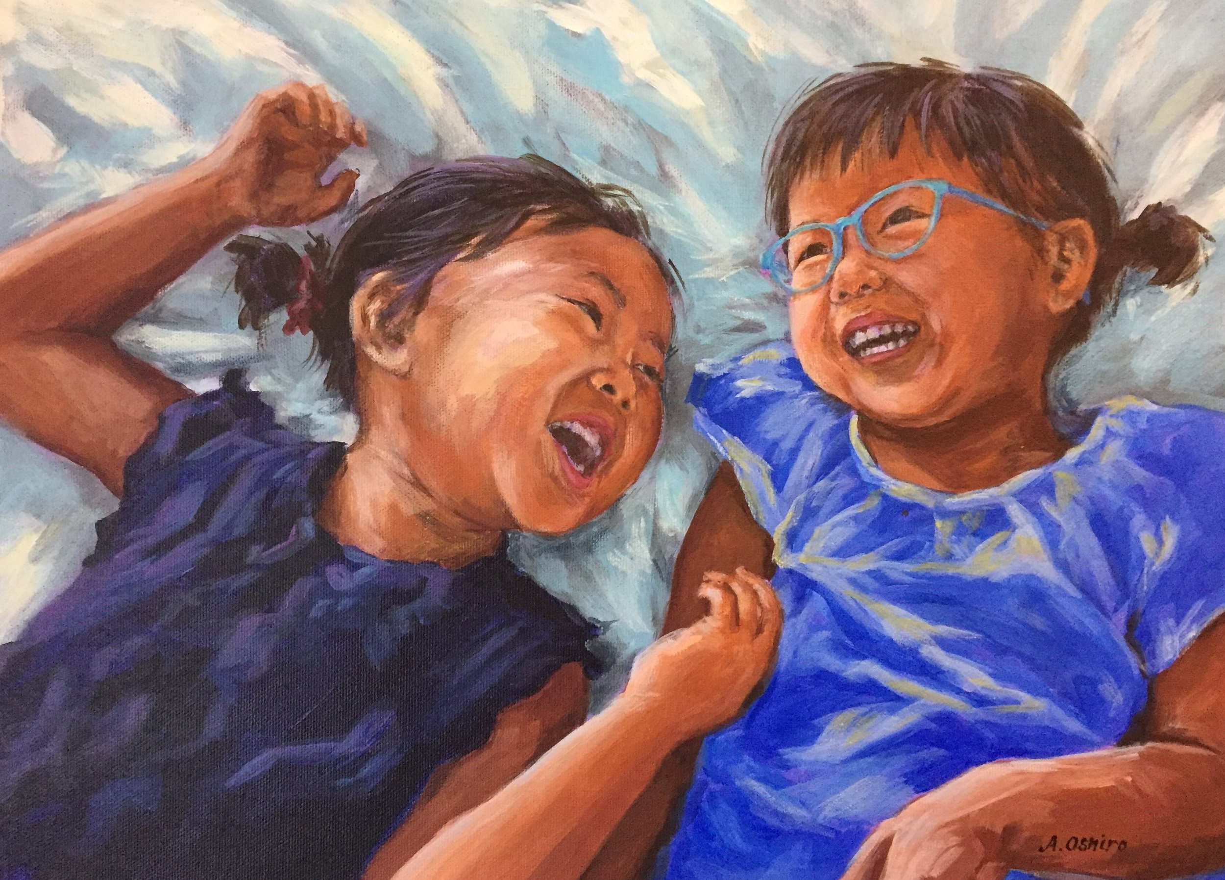 'Giggles' Acrylic Painting of Two young girls giggling in bed. by Ashley Oshiro, Calgary, Alberta, Local Fine Artist, Original Art
