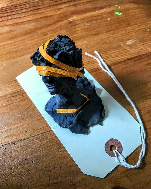 Self portrait in black plasticine and tape, exploring something about the controlled and the messy.  Preparation for puppet making work perhaps.  #illustration #sculpting #portraiture #selfportrait #artistsoninstagram #womenartists #womenwhodraw #selfie #plasticine #tape #black #order #disorder #artwork #bust #portrait #dailypractice #3dmodel #grapicmedicine #mentalhealth #mind #anatomy #label #femaleillustrator #feminist
