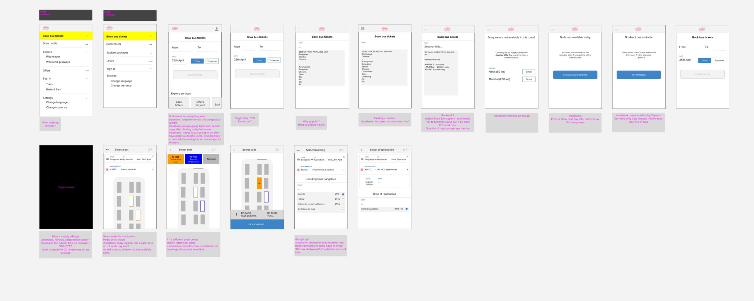 Screenshot:  of the initial wireframe discussion using Google Draw. It was used for team wide collaboration and to understand the key challenges that needed to be addressed for a effective ticket booking flow.