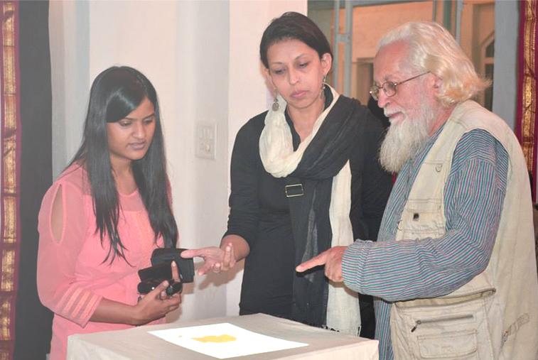 Shrankhla explaining the installation.