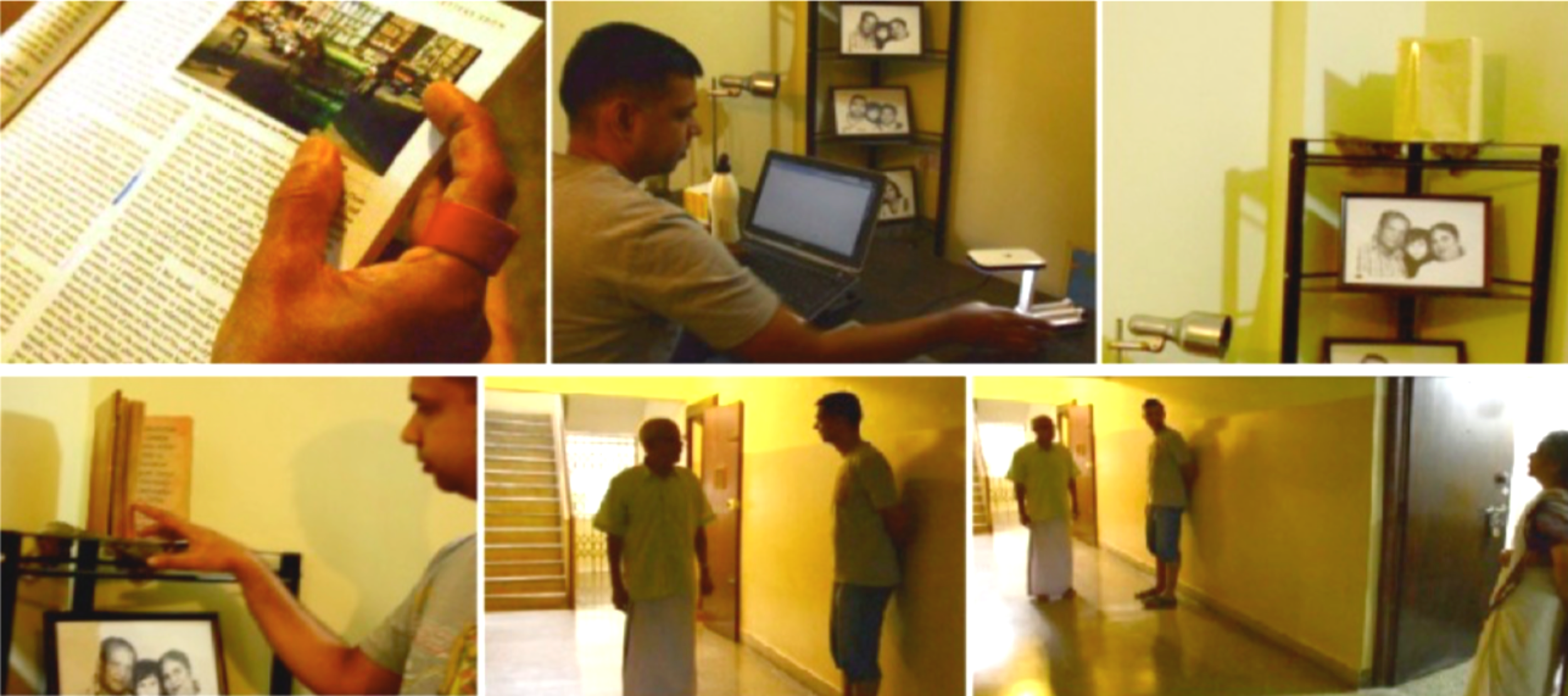 Image of the neighbours Enacting the ReadShare scenario.    From top left to right : Sampath reads and bookmarks; Asad switches on his reading lamp, the book triggered by his presence opens the flaps signalling that Sampath has shared new bookmarks; the book placed in the periphery of his desk.  From bottom left to right : Asad browsing the book; Asad and Sampath bumping into each other in the corridor; A conversation involving the Asad, Sampath and his wife.