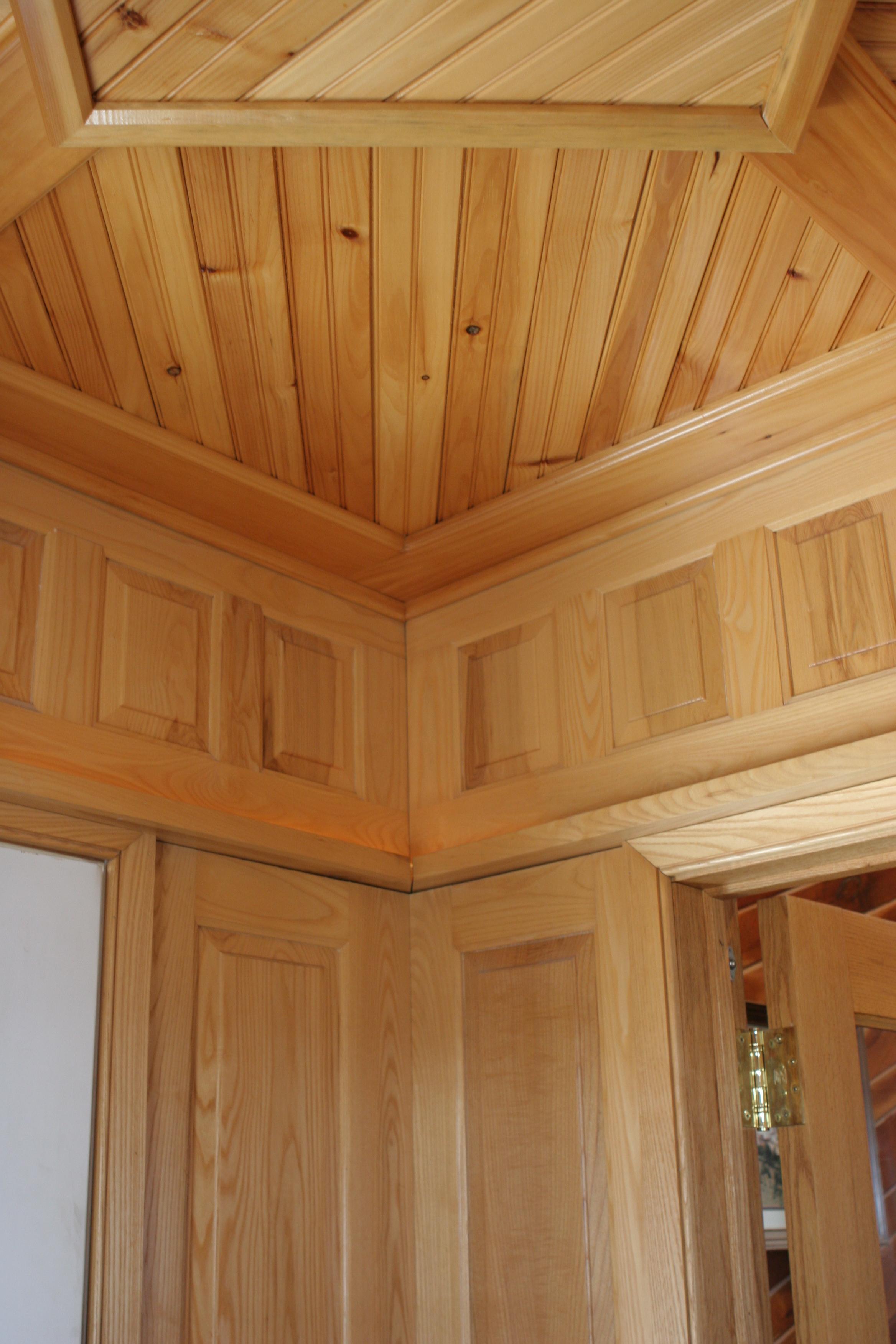 Pine beadboard and ash paneling.JPG