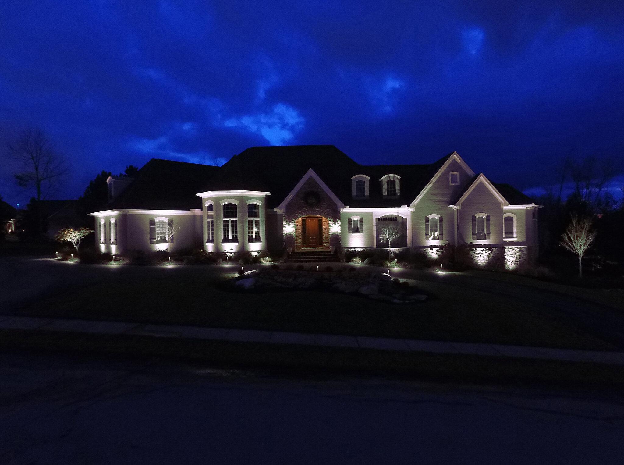 Home illuminated with white lighting