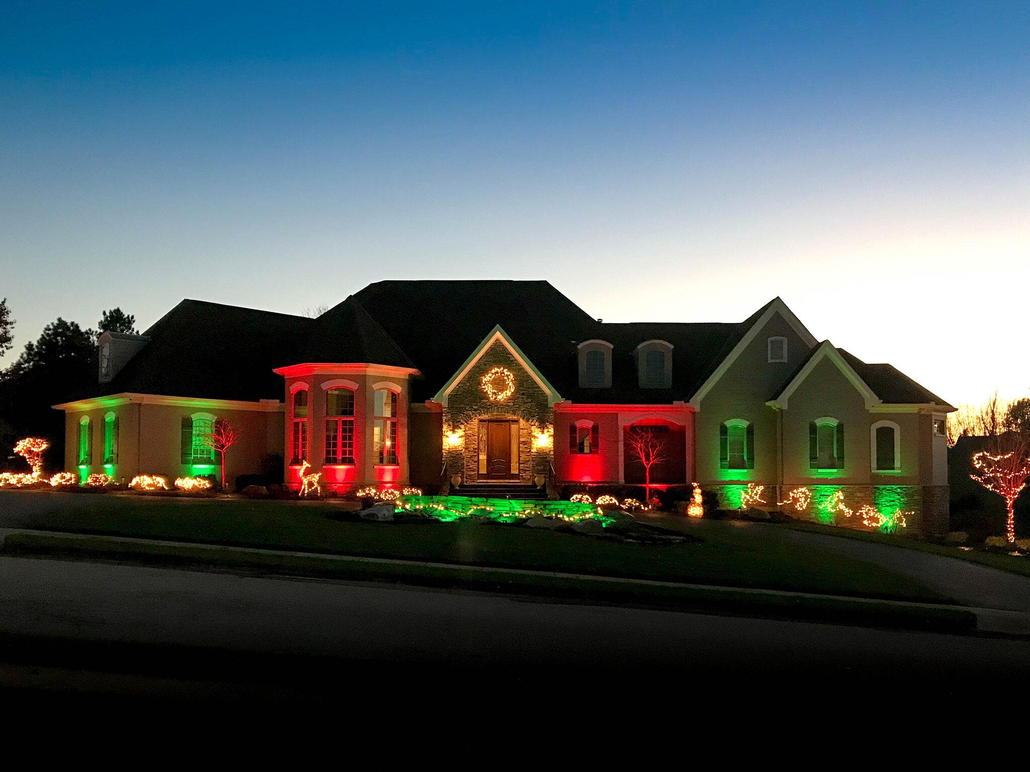 Home with Christmas theme lighting