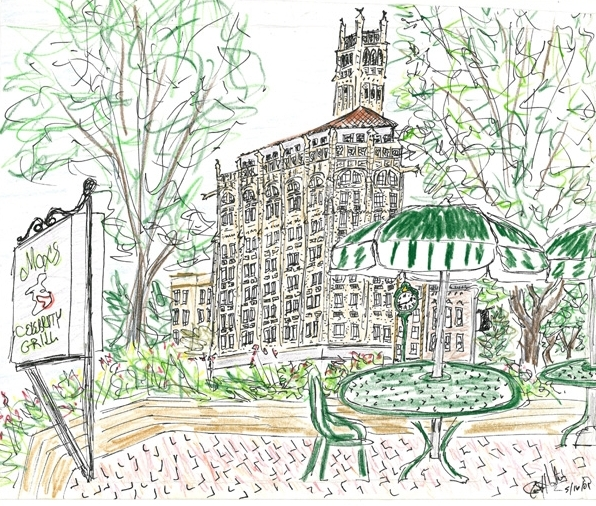 """Such a beautiful view, I had to do a sketch after lunch. Instead of Max's Celebrity Grill, you will find The Twisted Laurel at this location now, not far from the courthouse in downtown Asheville. Pen and colored pencil. """"The Jackson Building."""" Copyright © 2001 - 2019 Jennifer Russ, All Rights Reserved."""