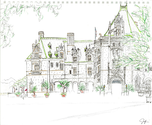 """Pen and colored pencil. """"Biltmore Estate"""" Asheville, North Carolina. Undated, but most likely 2001, because the sketch after this one in my notebook was also done on the Biltmore Estate and was dated May 2001. Copyright © 2001 - 2019 Jennifer Russ, All Rights Reserved."""