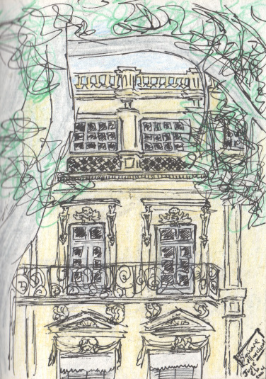 Pen and colored pencil.  A building in Montpellier, France near a park where I was sitting.  June 2004.  Copyright © 2004 - 2017 Jennifer Russ, All Rights Reserved.