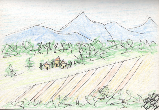 I made this quick sketch as we were traveling south on the TGV from Paris to Montpellier. Pen and colored pencil. French countryside. June 2004. Copyright © 2004 - 2019 Jennifer Russ, All Rights Reserved.