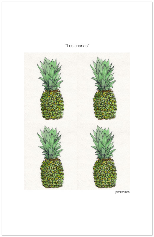 """11""""x17"""" archival print on cold press. """"Les ananas"""" March 2017. Prints also available in English (""""Pineapples"""") and Spanish (""""Las piñas""""). Copyright © 2012 - 2017 Jennifer Russ, All Rights Reserved."""