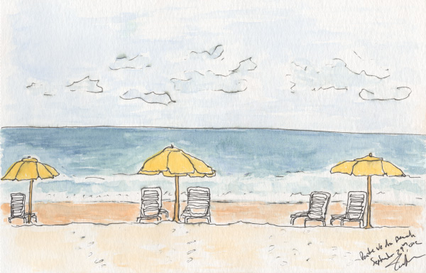 "Pen and watercolor.  ""Beach Chairs""  Ponte Vedra, Florida.  September 2012.  Prints available.  Copyright © 2012-2017 Jennifer Russ, All Rights Reserved."