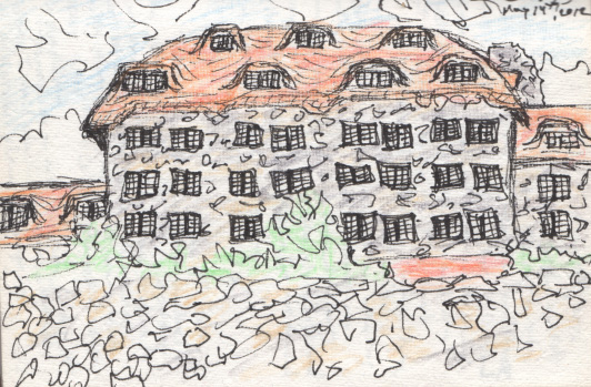 Very quick pen and colored pencil sketch of the Grove Park Inn, Asheville, NC. May 2012. Copyright © 2012 - 2019 Jennifer Russ, All Rights Reserved.