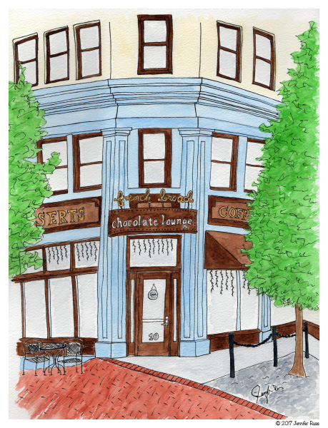 Pen and watercolor.  The French Broad Chocolate Lounge in Asheville, NC.  May 2017.  Prints and cards available.  Copyright © 2017 Jennifer Russ, All Rights Reserved.