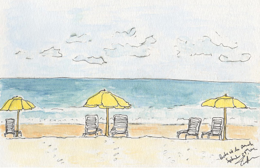 """Pen and watercolor. """"Beach Chairs"""" Ponte Vedra, Florida. September 2012. Prints available. Copyright © 2012 - 2019 Jennifer Russ, All Rights Reserved."""
