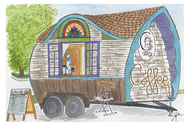Pen and watercolor. July 2017. Le Bon Café tiny house coffee truck in Asheville, NC. Copyright © 2017 Jennifer Russ, All Rights Reserved.
