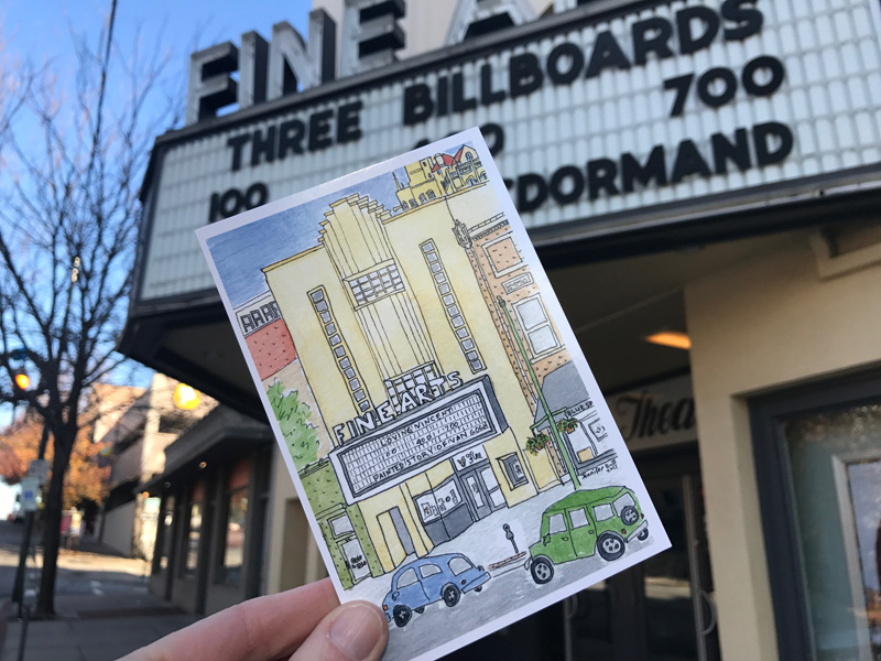 My postcard of Asheville's Fine Arts Theatre is now available at Moonlight Makers, Mtn Merch, located in Biltmore Village, at Dolce Vita in Downtown Asheville, at Downtown Books & News, at the next Show & Tell Pop Up, and from me!