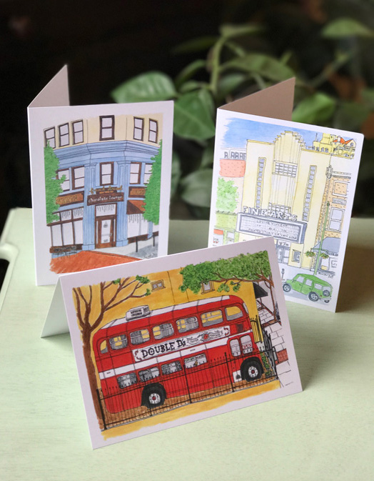 My notecards are available at Dolce Vita in Downtown Asheville on Wall St., at The Asheville Holiday Market Pop-Up Shop located in Moonlight Makers new beautiful space on Rankin Ave in Downtown Asheville every weekend in December, and from me when I am at a craft fair.
