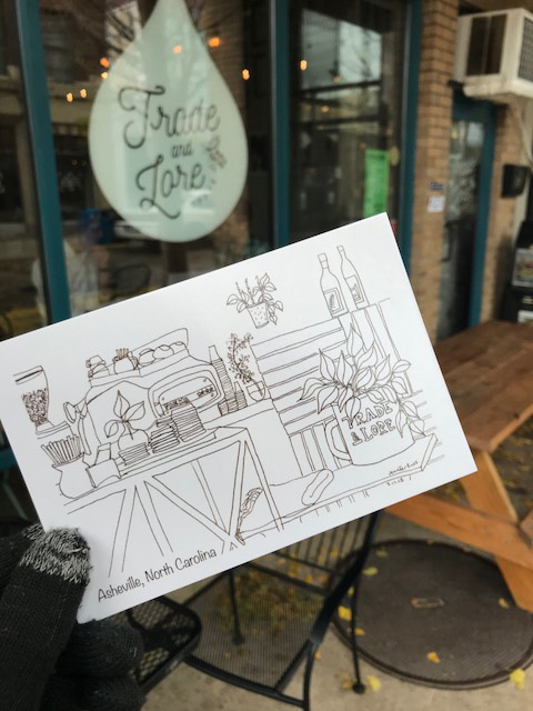 This postcard of my pen drawing at  Trade and Lore Coffee  is now available at Trade and Lore in Downtown Asheville, and will be at the next  Show & Tell Pop Up Shop .