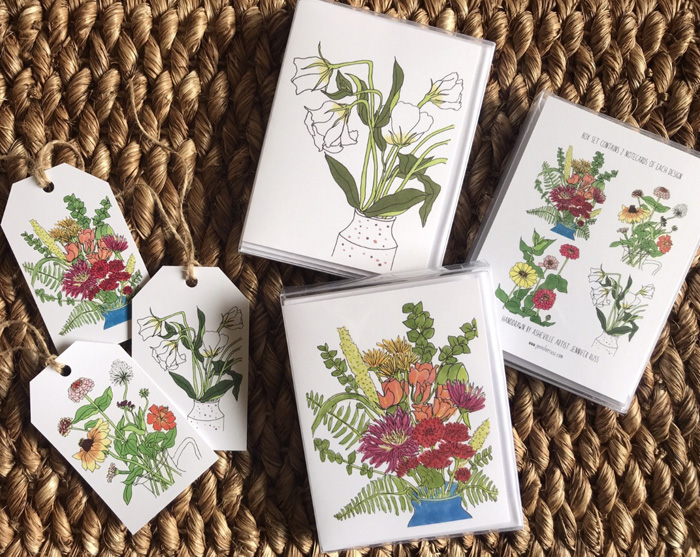 New floral notecards, notecard gift sets, and gift tags available now at Etc. Consignment in West Asheville and at the next Show and Tell Pop Up Shop in Asheville. Carolina Flowers has my Lisianthus cards (the white flowers), which were inspired by her beautiful flowers, and can be found at the Asheville City Market.