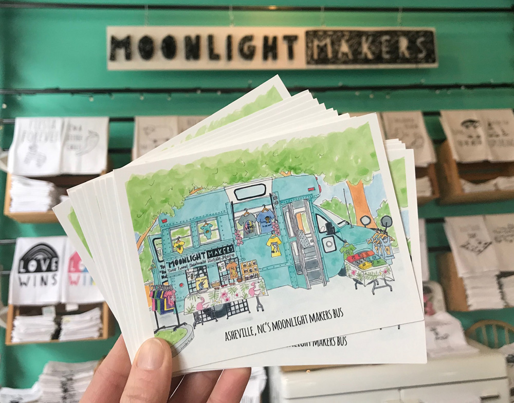 My newest pen and watercolor illustration (as of Jan 2019) is of Asheville's Moonlight Makers Bus! You can find these sweet postcards at Moonlight Makers in Downtown Asheville and I'll have some at the next Show and Tell Pop up Shop.