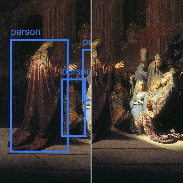 Simeon's Song of Praise by Rembrandt is in the Mauritshuis and was painted in 1631! ⠀⠀⠀⠀⠀⠀⠀⠀⠀⠀⠀⠀⠀⠀⠀⠀⠀⠀⠀⠀⠀⠀⠀⠀ Is it possible for a machine to recognise what is in the painting? Here I have used the COCO-SSD computer vision model run using @runwayapp to perform object detection on this painting by Rembrandt. Scroll through to see them in action!  #Rembrandt #Rembrandt350 #Mauritshuis #art #TheHague #painting #love #MachineLearning #ComputerVision #MaskRCNN #COCOSSD #ObjectDetection #TensorFlow