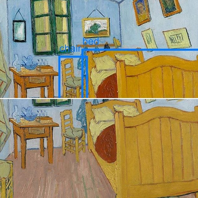 "The Bedroom by Vincent Van Gogh was painted while he was in Arles. Van Gogh made this painting of his bedroom in the Yellow House. ⠀⠀⠀⠀⠀⠀⠀⠀⠀⠀⠀⠀⠀⠀⠀⠀⠀⠀⠀⠀⠀⠀⠀⠀ ""He prepared the room himself with simple furniture and with his own work on the wall. The bright colours were meant to express absolute 'repose' or 'sleep'. ⠀⠀⠀⠀⠀⠀⠀⠀⠀⠀⠀⠀⠀⠀⠀⠀⠀⠀⠀⠀⠀⠀⠀⠀ Research shows that the strongly contrasting colours we see in the work today are the result of discolouration over the years. The walls and doors, for instance, were originally purple rather than blue. ⠀⠀⠀⠀⠀⠀⠀⠀⠀⠀⠀⠀⠀⠀⠀⠀⠀⠀⠀⠀⠀⠀⠀⠀ The apparently odd angle of the rear wall, meanwhile, is not a mistake on Van Gogh's part – the corner really was skewed. The rules of perspective seem not to have been accurately applied throughout the painting, but this was a deliberate choice. ⠀⠀⠀⠀⠀⠀⠀⠀⠀⠀⠀⠀⠀⠀⠀⠀⠀⠀⠀⠀⠀⠀⠀⠀ Vincent told Theo (his brother) in a letter that he had deliberately 'flattened' the interior and left out the shadows so that his picture would resemble a Japanese print. Van Gogh was very pleased with the painting: 'When I saw my canvases again after my illness, what seemed to me the best was the bedroom'."" This excerpt was taken from the Van Gogh Museum's website. ⠀⠀⠀⠀⠀⠀⠀⠀⠀⠀⠀⠀⠀⠀⠀⠀⠀⠀⠀⠀⠀⠀⠀⠀ Is it possible for a machine to recognise what is in the painting? Here I have used the COCO-SSD computer vision models run using the @runwayapp to perform object detection on this painting by Van Gogh. Scroll through to see it action! ⠀⠀⠀⠀⠀⠀⠀⠀⠀⠀⠀⠀⠀⠀⠀⠀⠀⠀⠀⠀⠀⠀⠀⠀ #VincentVanGogh #VanGogh #TateBritain #VanGoghMuseum #Amsterdam #art #painting #love #MachineLearning #ComputerVision #MaskRCNN #COCOSSD #ObjectDetection #TensorFlow #London"