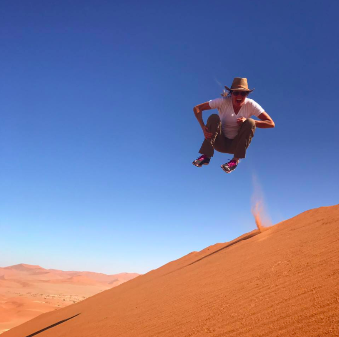 Dune diving in Namibia. This is the classic TannenBall.