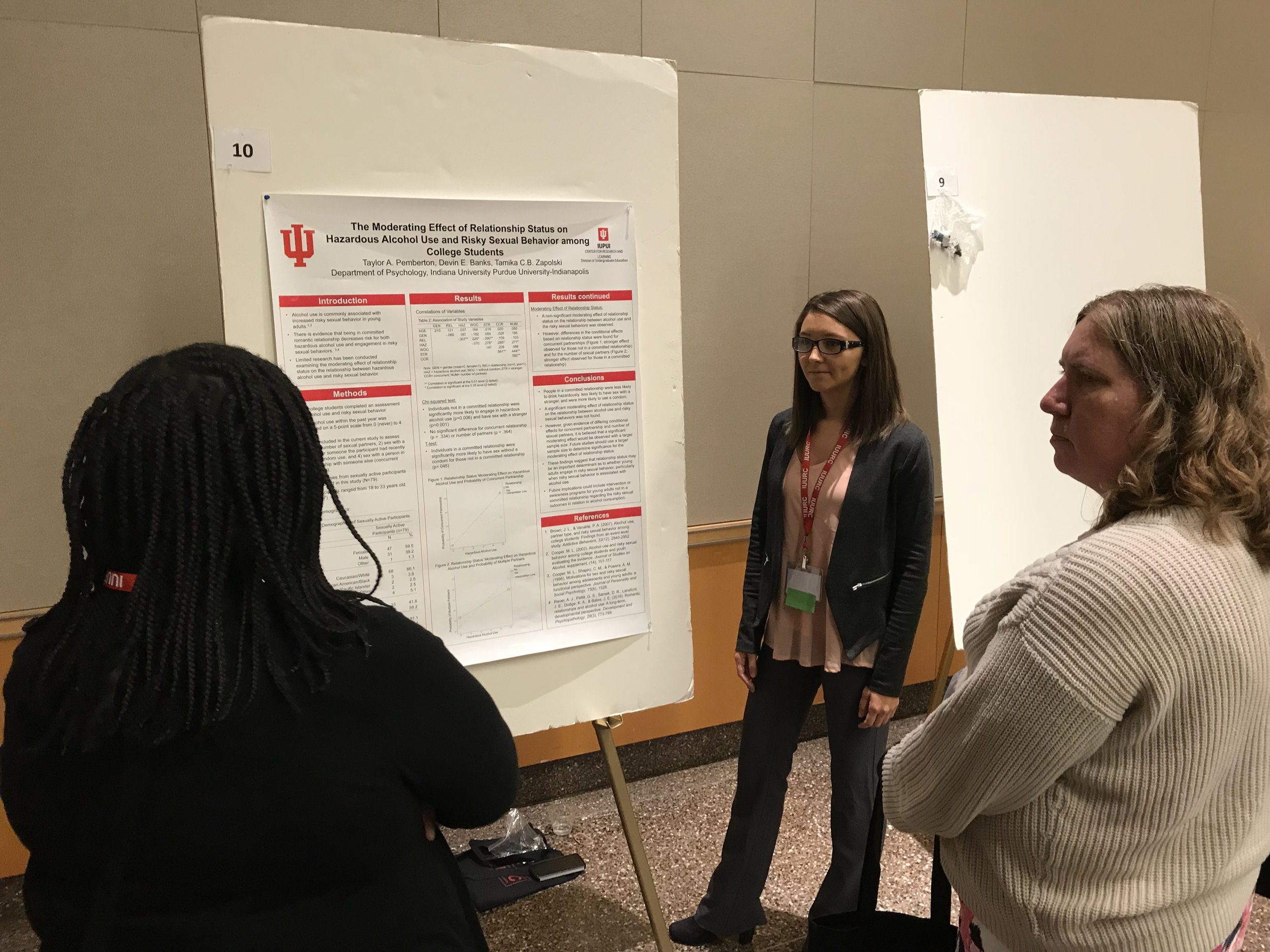 Taylor Pemberton presents her research on risky sexual behavior and alcohol use.