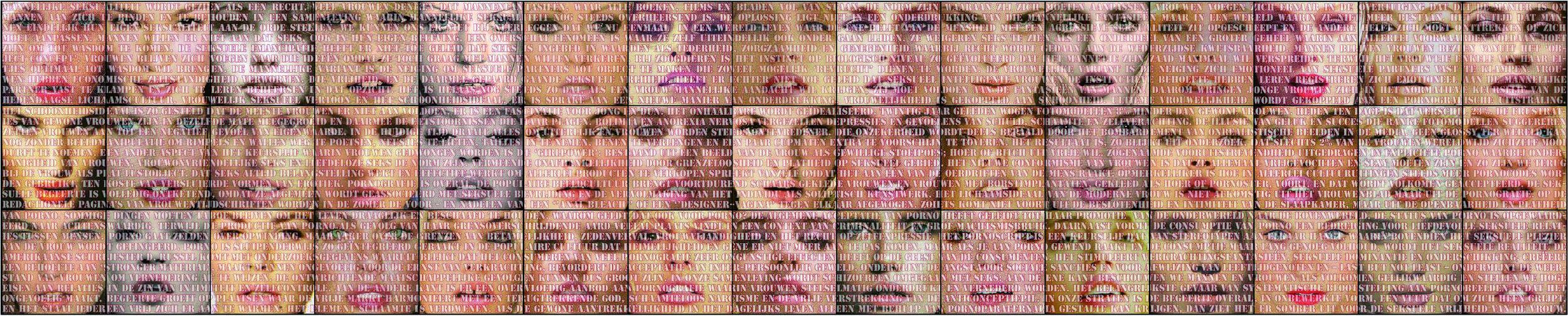 Open Mouths, jacquard doublewoven, 45 panels of 100 x 100 cm, total 300 x 1500 cm