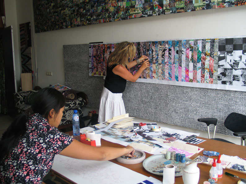 Barbara working on the design of Tribute to life