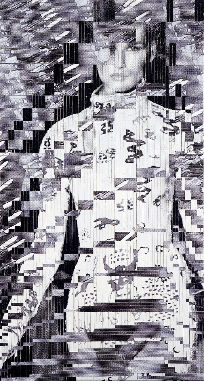 Woman: no. 4, printed and woven canvas, 225 x 118 cm