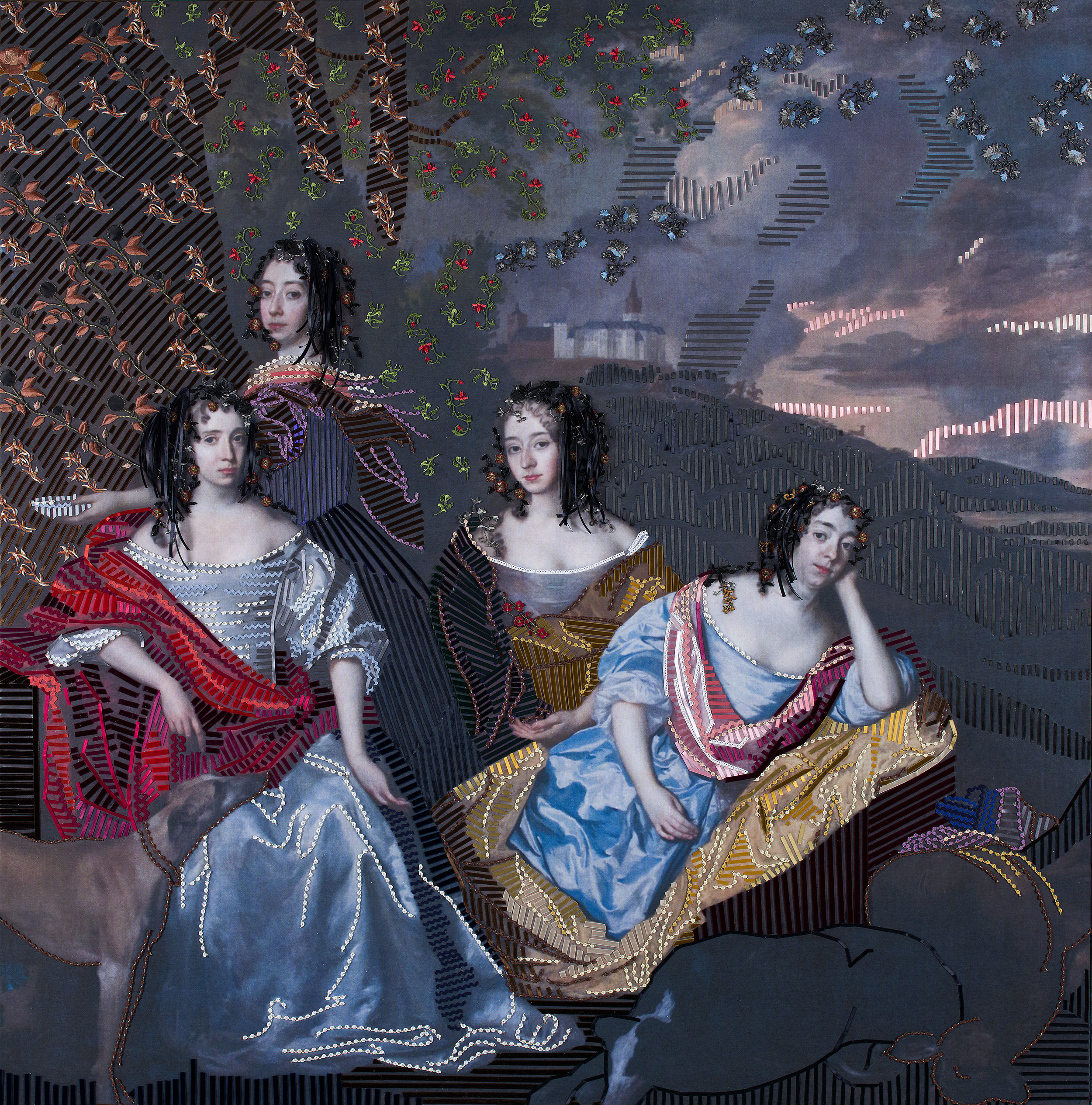 Henriette and her sisters, printed canvas painted with embroidery, 200 x 200 cm