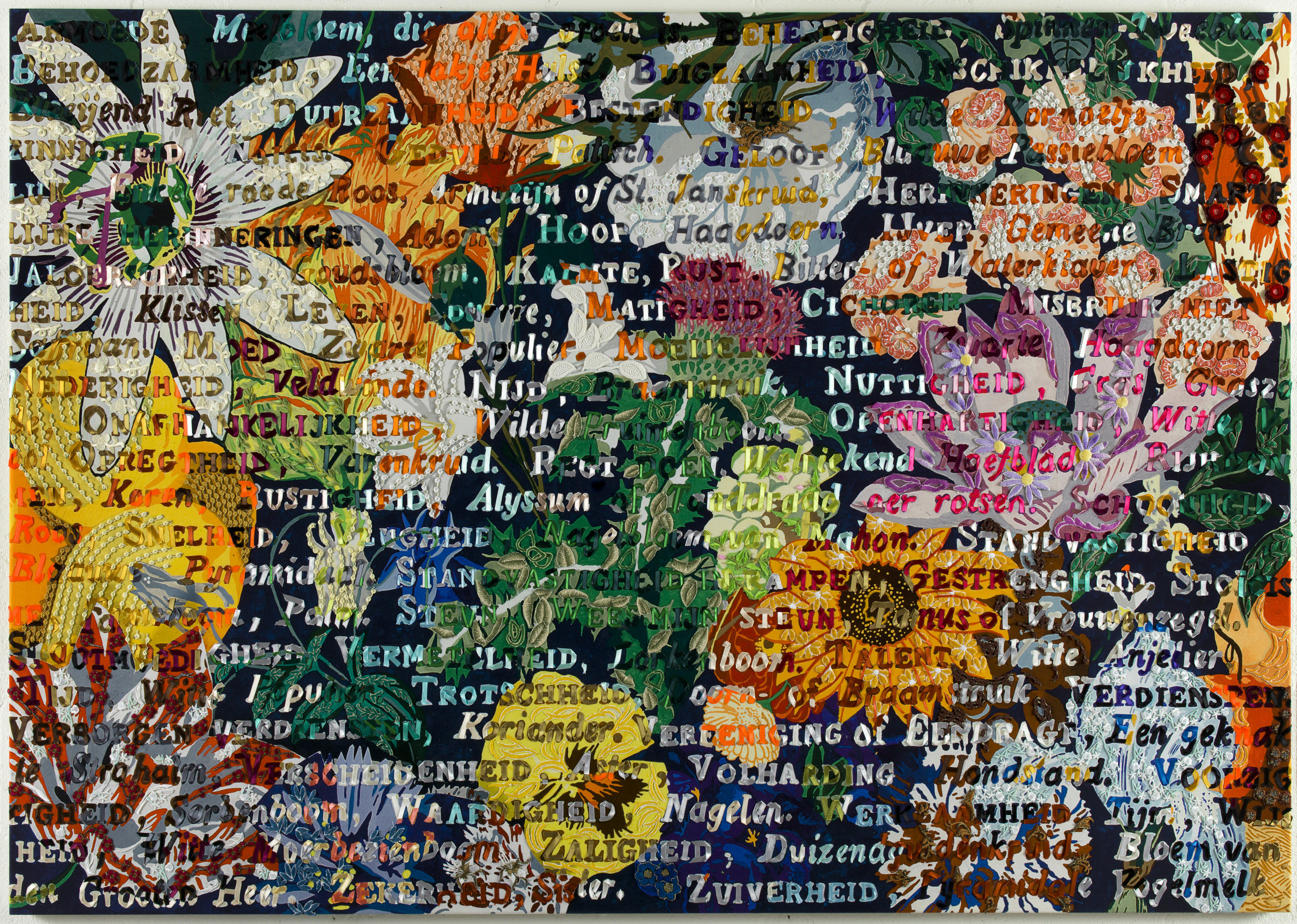 Speech of flowers, printed canvas painted with embroidery, 127 x 185 cm