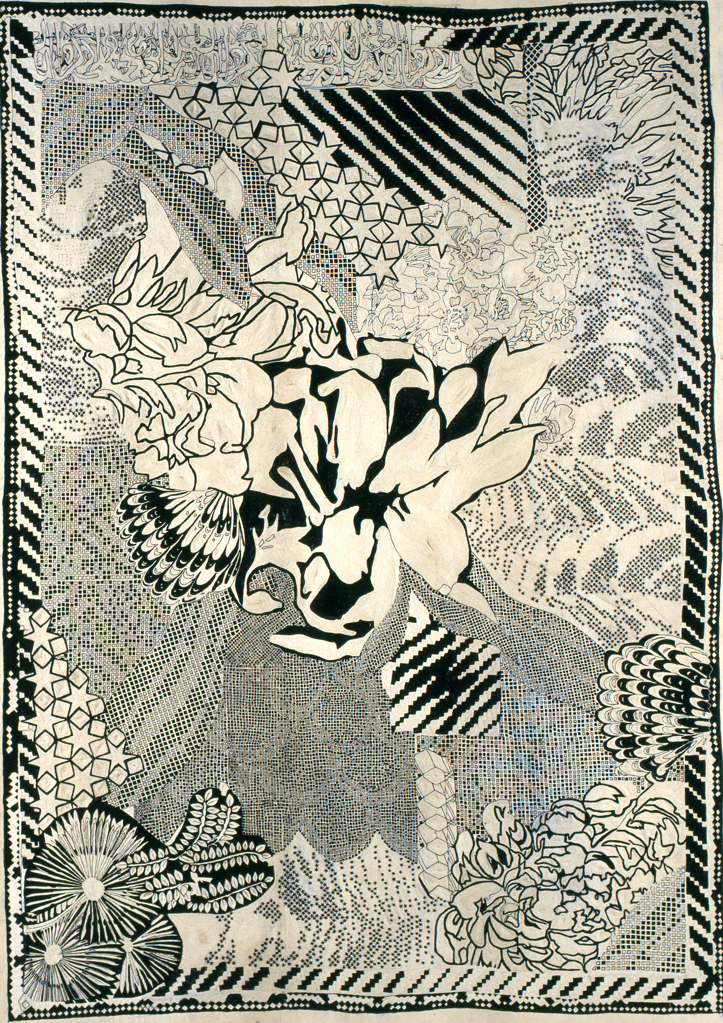 Composition in black and white, hand embroidered, 235 x 165 cm