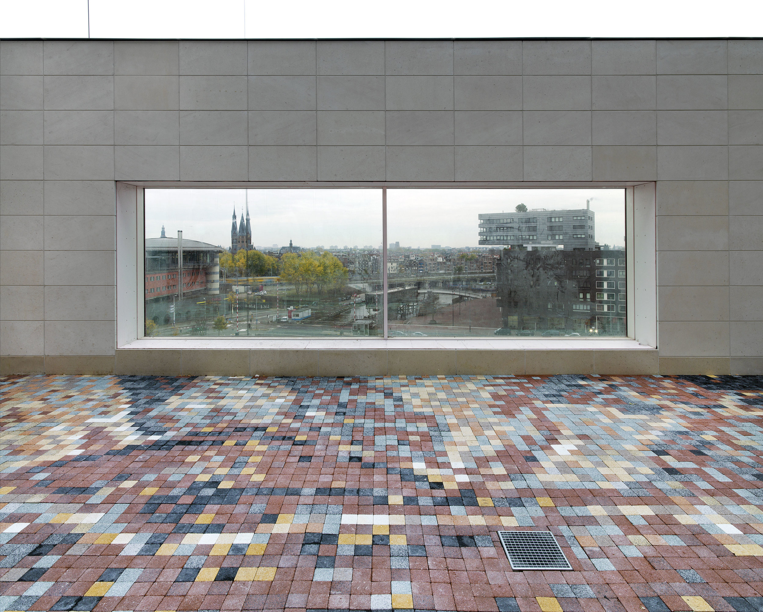 Evil: The abduction of Hippodamia, concrete tiles, 700 x 270 cm