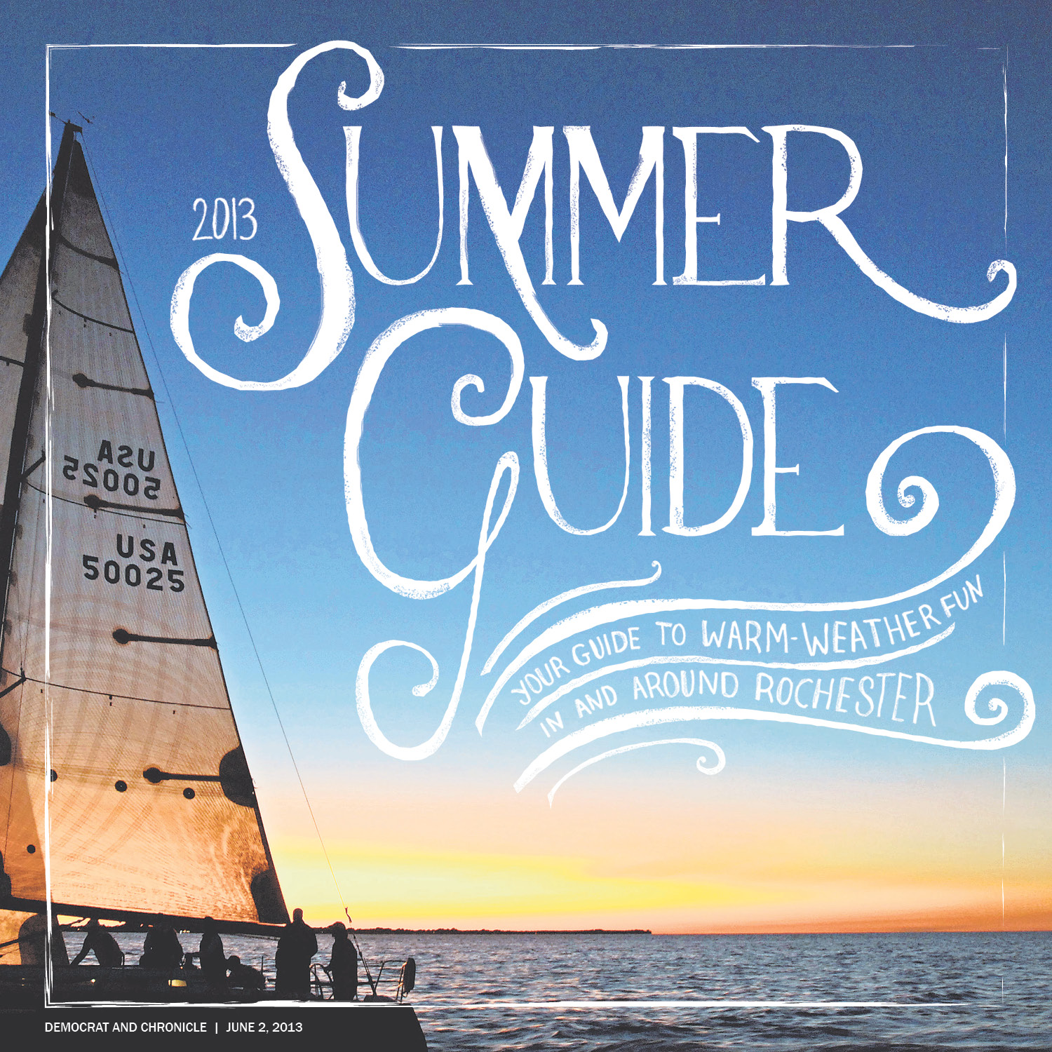 We didn't have many visuals to choose from for the annual Summer Guide special section. This image was the most colorful and visually appealing but still not compelling so I decided to handletter the copy to add interest.