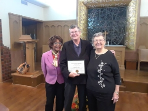 November 2018,  Kalen McAllister receives the HUMAN RIGHTS AWARD from the St.Louis area Churchwomen United