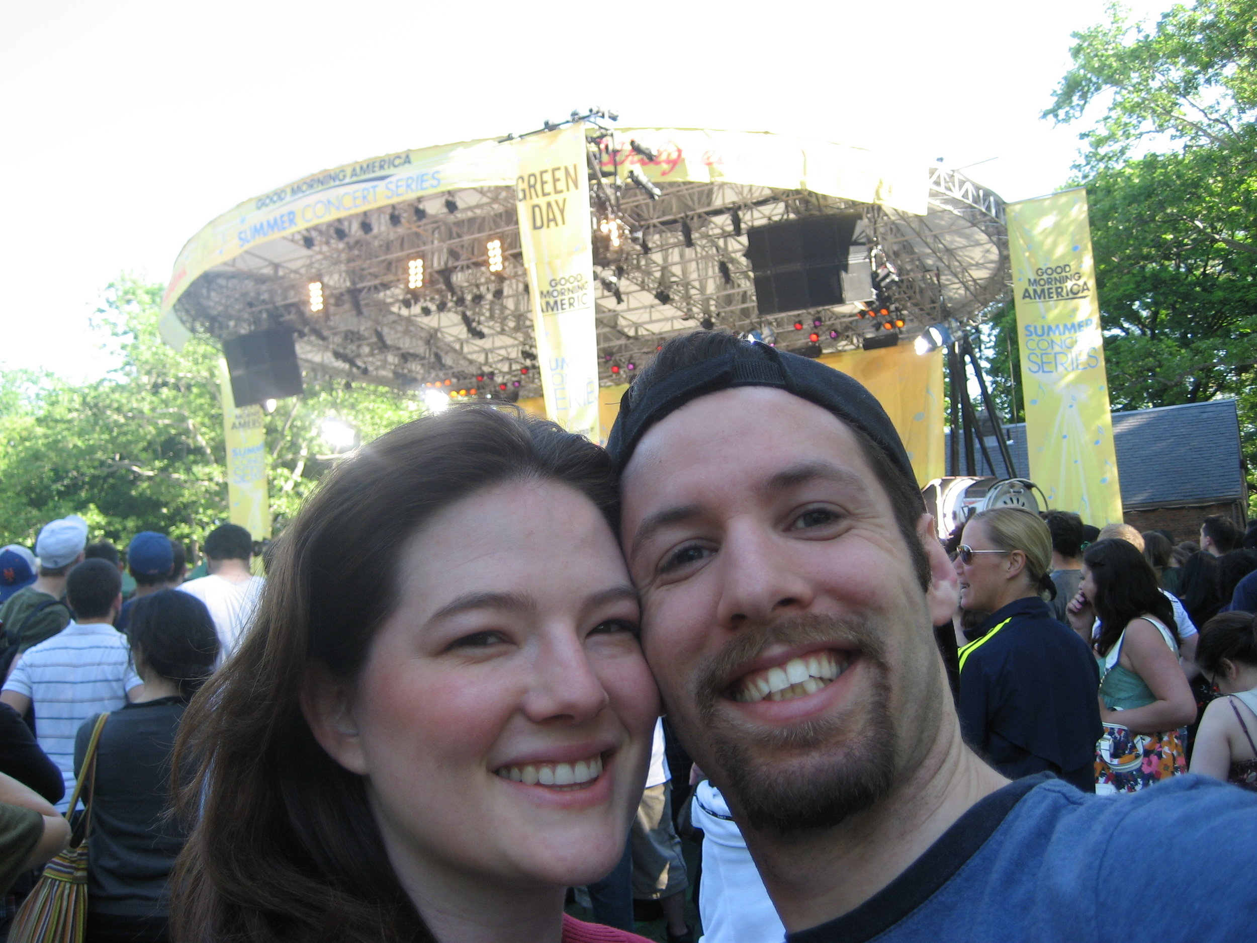 The author and her husband at a Green Day show in 2008.