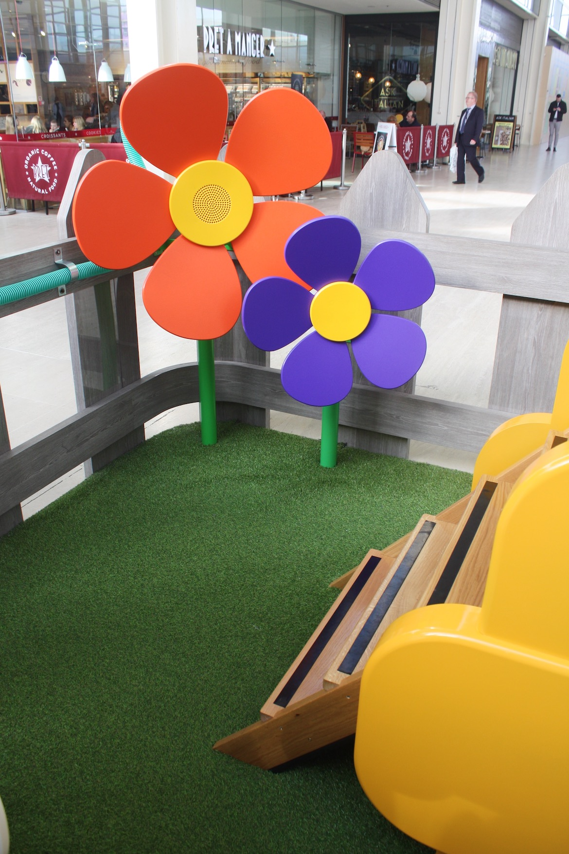 These flowers are connected with interactive speak and listen tubes, so children can send messages to each other as they play.