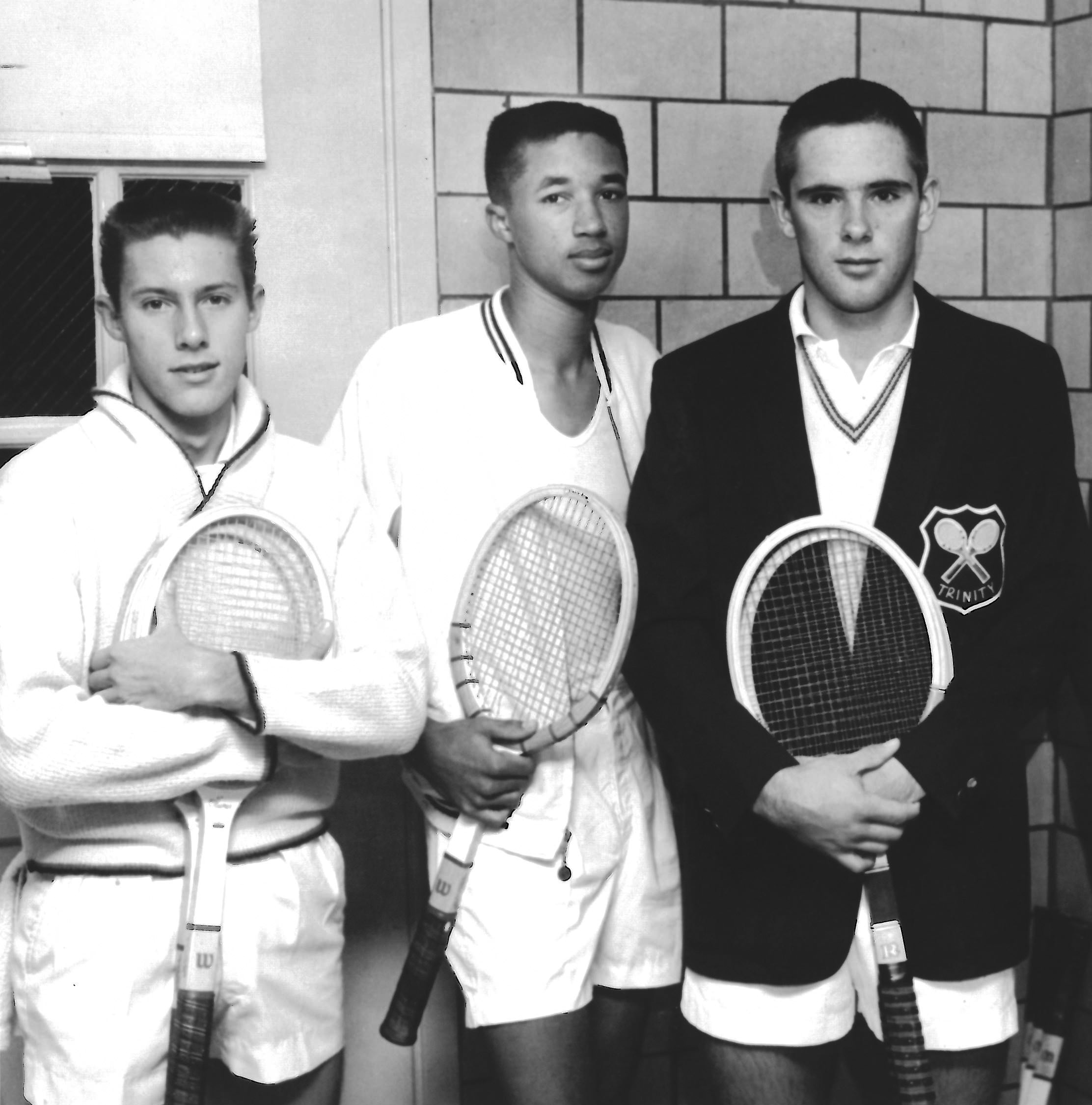 1960 photo of Arthur Ashe between good friends and nationally ranked juniors (left) Jim Parker and (right) Cliff Buchholz taken at the Armory. (Photo credit St. Louis Post-Dispatch)