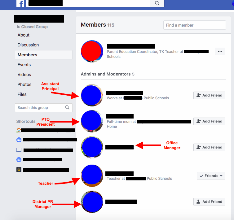 School Administrators inside FB Group