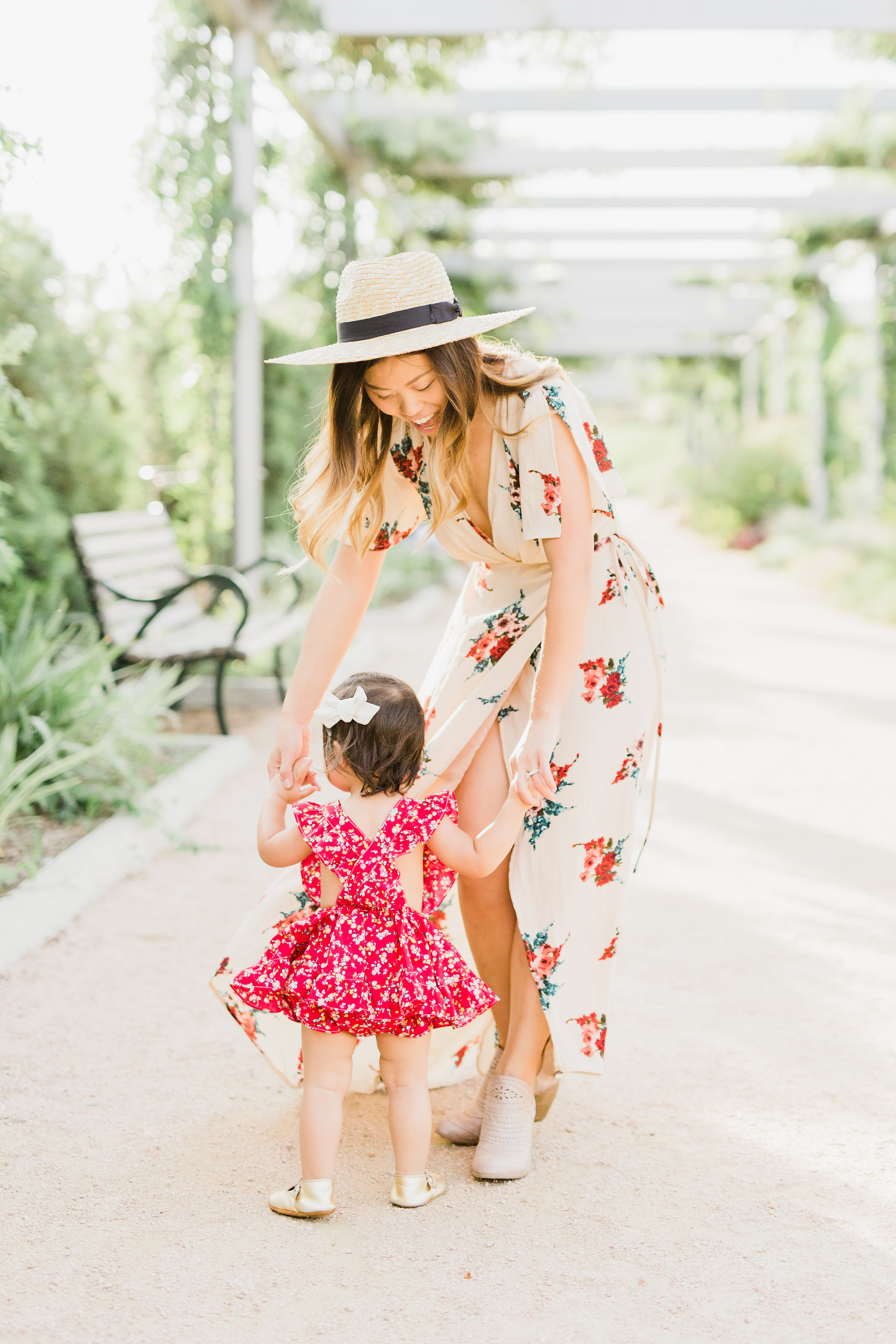 naturally-nude-taupe-floral-wrap-maxi-dress mommy and me filly flair